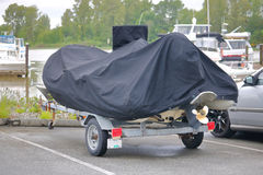 Pontoon Cover and Trailer Royalty Free Stock Photos