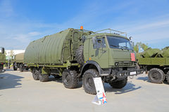Pontoon equipage PP-91. KUBINKA, MOSCOW OBLAST, RUSSIA - JUN 19, 2015: International military-technical forum ARMY-2015 in military-Patriotic park. Pontoon royalty free stock photos