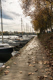 Pontoon on the Erdre river Stock Photos