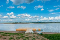Pontoon float in the marsh Stock Images