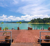 Pontoon in front of the hut in Khaosok lake, Ratchaprapha Dam , Royalty Free Stock Images
