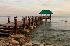 The pontoon and hammocks on the beach in Tulum Stock Photos