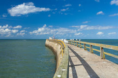 Pontoon jetty and channel of grandcamp normandy Royalty Free Stock Photo