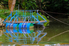 Pontoon made from oil drum metal cylinder used with others to su Royalty Free Stock Photography