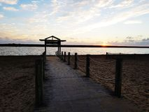 The pontoon of Marennes beach one evening royalty free stock image