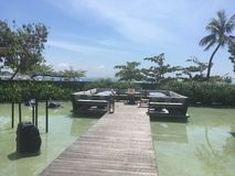 Pontoon over the water in a resort in bali Stock Images