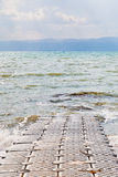 Pontoon pier on coast of Dead Sea Stock Photo