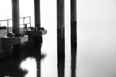 Pontoon with smooth River surface Royalty Free Stock Image