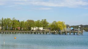 Pontoon on Starnberg Lake royalty free stock photography