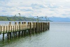 Pontoon on Starnberger lake stock image