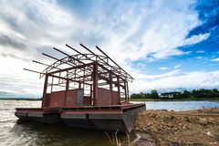 Pontoon. Steel pontoon under construction The lake The blue sky Royalty Free Stock Photos