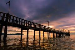 Pontoon at sunset Stock Image