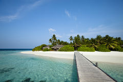 Pontoon to paradise beach. A wood pontoon access to paradise beach of a tropical island stock images