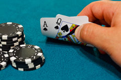 Pontoon winning hand. A winning hand of twenty one in the game of Blackjack or pontoon Royalty Free Stock Images