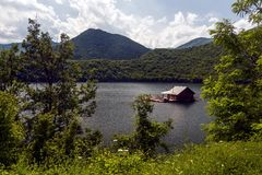 Pontoons house in Vacha Dam, Devin Municipality, South Bulgaria Stock Images
