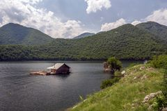 Pontoons house in Vacha Dam, Devin Municipality, South Bulgaria Royalty Free Stock Photo