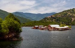 Pontoons houses in Vacha Dam, Devin Municipality, South Bulgaria Royalty Free Stock Photo
