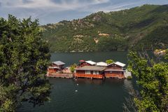 Pontoons houses in Vacha Dam, Devin Municipality, South Bulgaria Royalty Free Stock Photography