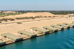 Free Pontoons On The Shore Of Suez Canal In Egypt Royalty Free Stock Photo - 151678235