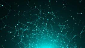 Pontos abstratos da conexão Fundo da tecnologia Conceito 3d da rede rendido ilustração royalty free