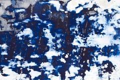 Pontos brancos no azul pintado de madeira Foto de Stock