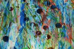 Pontos brancos vermelhos da cera do watercor escuro colorido do arco-íris, projeto criativo Fotografia de Stock