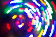 Pontos claros no movimento lâmpadas Fora de foco Imagens de Stock