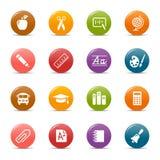 Pontos coloridos - ícones da escola Foto de Stock