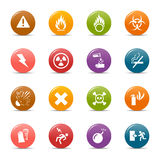 Pontos coloridos - ícones de advertência Fotografia de Stock Royalty Free
