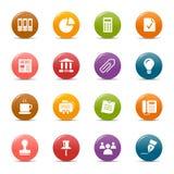 Pontos coloridos - ícones do escritório e do negócio Fotografia de Stock Royalty Free