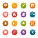 Pontos coloridos - ícones do escritório e do negócio Imagem de Stock