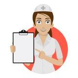 Pontos da enfermeira ao formulário no círculo ilustração do vetor
