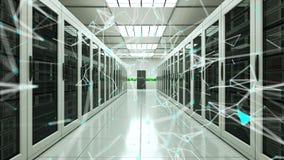 Pontos da sala e da conexão do servidor no datacenter, na rede da Web e na tecnologia da telecomunicação do Internet, rendição 3d vídeos de arquivo