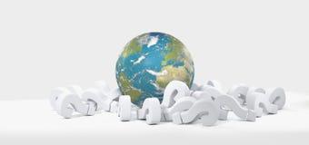Pontos de interrogação 3D-Illustration do globo do mundo Imagem de Stock
