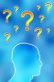 Pontos de interrogação e cabeça masculina Imagem de Stock Royalty Free
