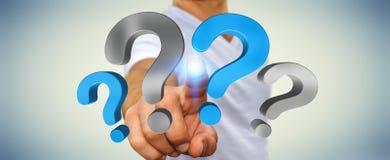 Pontos de interrogação tocantes do homem de negócios em sua rendição da mão 3D Imagem de Stock Royalty Free
