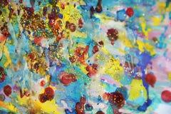 Pontos de luzes de fluxo fosforescentes, pintura vívida pastel da aquarela da cera vermelha, matiz coloridas Fotos de Stock