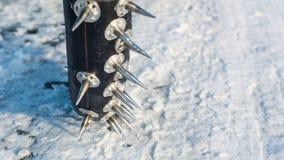 Pontos de um velomotor do estrada do gelo imagem de stock