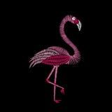 Pontos do bordado com pássaro do flamingo Ornamento da forma do vetor Imagens de Stock