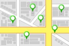 Pontos do interesse do mapa Imagens de Stock