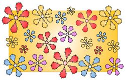 Pontos do teste padrão de flores do Quilt Imagens de Stock