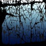 Pontos e manchas pretos e cinzentos da tinta em um fundo azul alvorecer Comece um dia novo Imagem de Stock