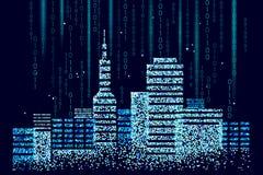 Pontos manchados 3D espertos da cidade Conceito inteligente do negócio do sistema de automatização de construção Código binário d ilustração royalty free