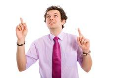 Pontos masculinos novos atrativos, felizes, positivos acima Fotografia de Stock Royalty Free