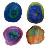 Pontos misturados da cor do respingo colorido da aquarela ilustração do vetor