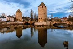 The Ponts Couverts in blue hour royalty free stock image