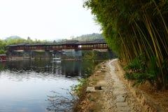 Ponts couverts chinois, qiao d'arc-en-ciel Images libres de droits