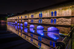 Ponts couverts at night in Strasbourg Stock Photography
