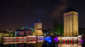 Ponts couverts at night in Strasbourg Stock Photos