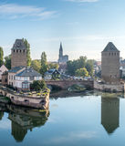 Ponts Couverts in Strasbourg. View from the Barrage Vauban with the medieval bridge Ponts Couverts, three bridges and four towers on the River Ill Strasbourg in Stock Image